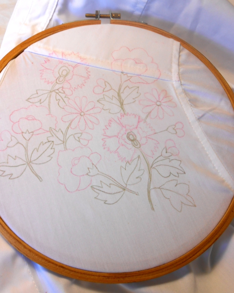 E: Junior's embroidery: secured in the hoop, ready to begin