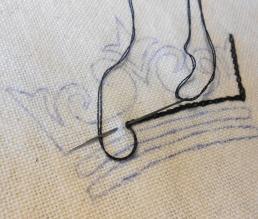Chain stitch in process